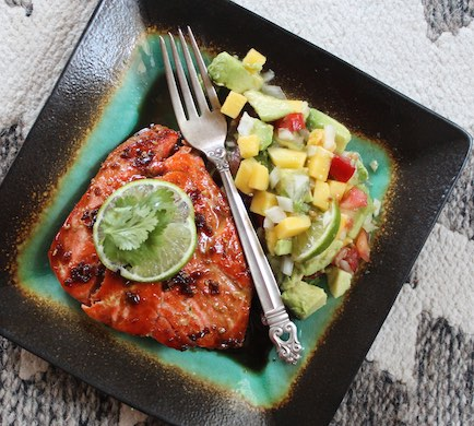 Atlantic Salmon with Avocado Mango Salsa